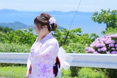 美人浴衣妻と紫陽花祭り